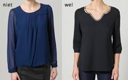 De linker blouse is heel massief. De bijzondere hals van de rechterblouse trekt de aandacht en de stof valt soepel om het lichaam.