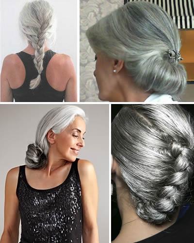 grijs haar opgestoken